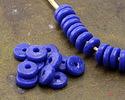African Sand Cast Powder Glass (Krobo) Cobalt Disc Bead 13-14x4mm