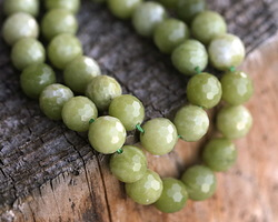 Olive Jade Faceted Round 10mm