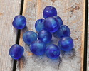 African Recycled Glass Island Blue Tumbled Round 10-11mm