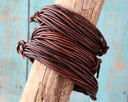 Natural Antique Brown Round Leather Cord 2mm, 32 feet