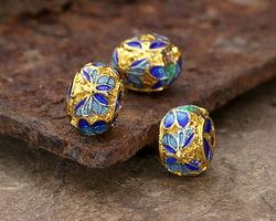 Cloisonné Blue, Aqua & Green w/ Gold Finish Butterfly Rondelle 5.5x7.5mm