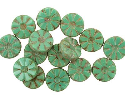 Czech Glass Opaque Emerald Picasso Flower Window Coin 12mm