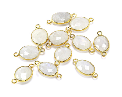 Moonstone (rainbow) Faceted Oval Link in Gold Vermeil 17-20x9-11mm