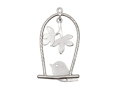 Ezel Findings Rhodium (plated) Perched Bird Pendant 18x32mm