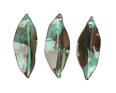 C-Koop Enameled Metal Dark Sage Green Pointed Leaf 15-20x40-45mm