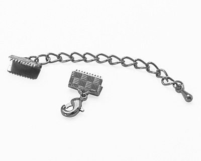 Artistic Wire Hematite Mesh Clasp (w/ Extension Chain & Lobster Clasp) 10mm