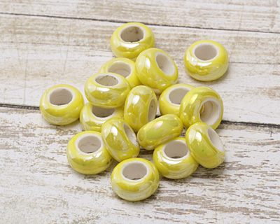 Lemon Yellow Large Hole Ceramic Rondelle 12-13mm