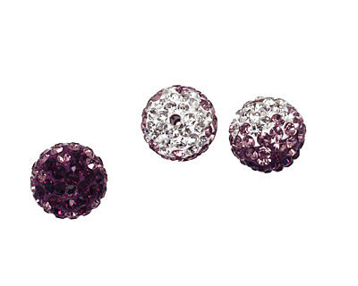 Amethyst/Crystal Ombre Pave Round 10mm (1.5mm hole)