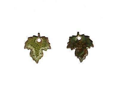 C-Koop Enameled Metal Fern Green Maple Leaf 18x20mm