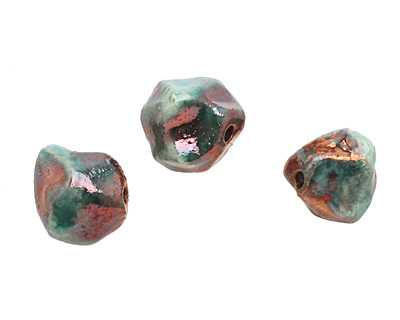 Xaz Raku Green Small Nugget 11-13mm
