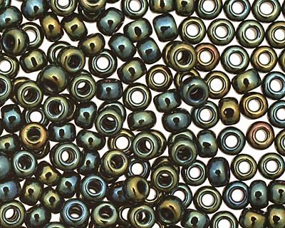 TOHO Metallic Iris Green/Brown Round 11/0 Seed Bead