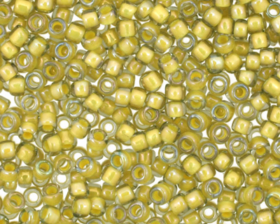 TOHO Luster Black Diamond (with Opaque Yellow Lining) Round 15/0 Seed Bead