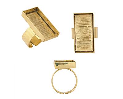 Brass Adjustable Ring Rectangle Bezel 29x14mm