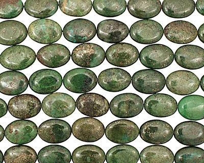 Green Chalcopyrite Flat Oval 20x15mm