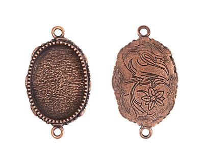 Nunn Design Antique Copper (plated) Large Ornate Oval Bezel Link 39x23mm