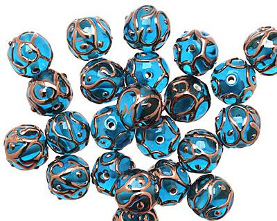 Czech Lampwork Capri Blue w/ Rose Gold Round 11-13mm