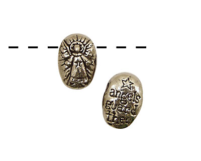 Green Girl Pewter Angel Pebble 13x20mm