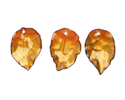 C-Koop Enameled Metal Egg Yellow/Clear Round Leaf 19-21x30-33mm