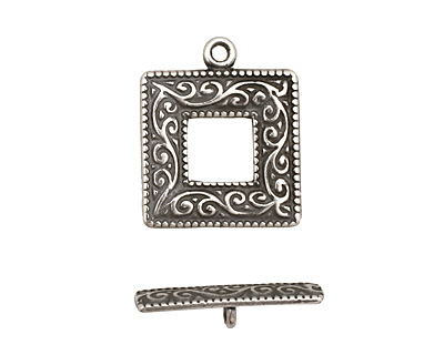Antique Silver (plated) Scroll Square Toggle Clasp 22x18mm, 21mm bar