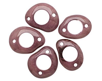 Tagua Nut Violet Open Slice Link 40-48x32-40mm