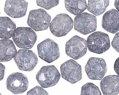 Czech Fire Polished Glass Luster Stone Blue Round 3mm