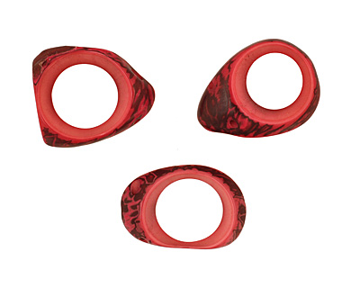 Tagua Nut Hot Pink Open Slice (side drilled) 33-45x24-36mm
