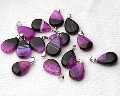 Black & Purple Agate Flat Teardrop Pendant 18x28mm