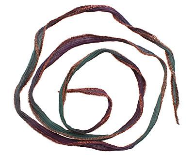 Harlequin Nights w/ Copper Metallic Edges Hand Dyed 100% Silk Ribbon 1/2