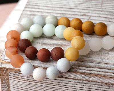 Matte Multi Gemstone (Amazonite, Carnelian, Yellow Opal, Agate) Round 10mm