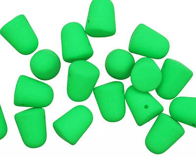 Czech Glass Bright Neon Green Gumdrop 8x10mm
