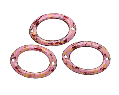 C-Koop Enameled Metal Pink Mix Large Oval Link 34-38x24-25mm