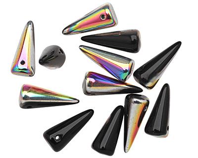 Czech Glass Black Vitrail Spike 7x17mm