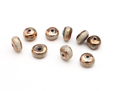 Xaz Raku Gold Luster Rondelle 7-8x11-13mm