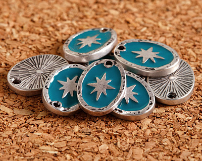 Zola Elements Peacock Enamel Antique Silver (plated) Starburst Oval Focal 11x15mm