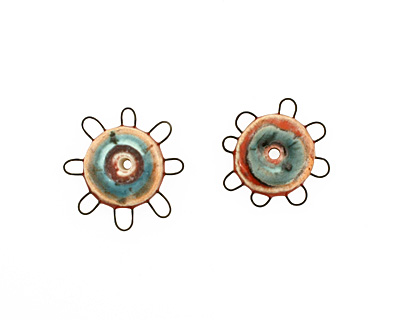 Jangles Ceramic Red, Turquoise Small Pinwheel 27-28mm