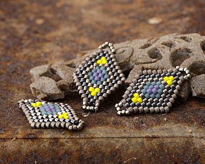 Goldfinch Hand Woven Diamond 25x17mm