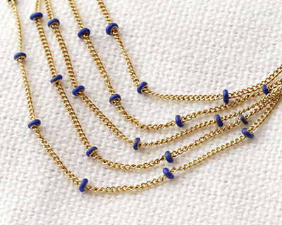 Gold (plated) Stainless Steel Cobalt Satellite Chain