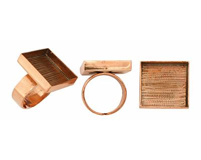 Copper Adjustable Ring Square Bezel 21mm