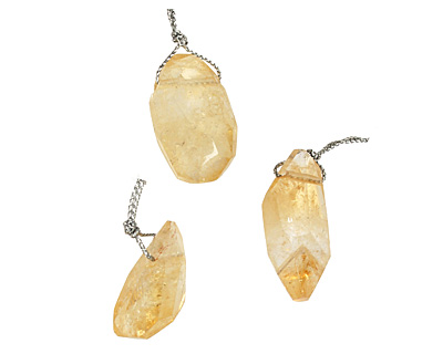 Citrine Faceted Nugget Drop Pendant 17-20x29-36mm
