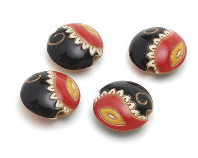 Golem Studio Red & Black Paisley Carved Ceramic Lentil 23mm