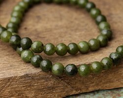 Green Serpentine (dark) Round 6mm