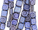 Czech Glass Laser Etched Ammonite on Lilac Opal w/ Iris Blue Finish Puff Square 15mm