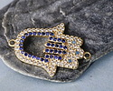Satin Gold Finish Clear Waters Mix Pave CZ Hamsa Focal Link 25x17mm