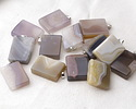 Natural Agate Rectangle Pendant 26-27x41-43mm