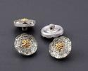 Czech Glass Clear & Silver w/ Gold Carnation Button 14mm