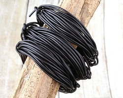Natural Black Round Leather Cord 2mm, 16 feet