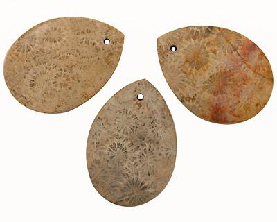 Fossil Jasper Flat Teardrop Pendant 32x45mm