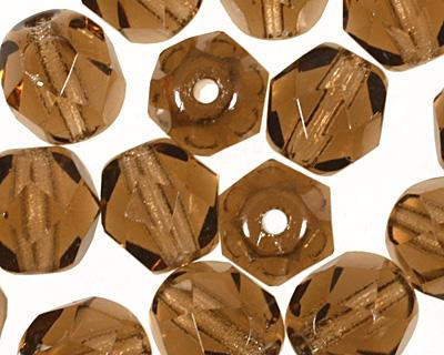Czech Fire Polished Glass Smoky Topaz Round 6mm