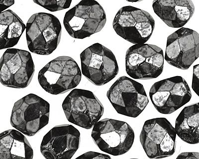 Czech Fire Polished Glass Hematite Round 3mm