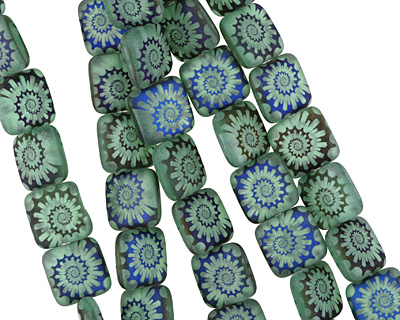 Czech Glass Laser Etched Ammonite on Matte Sea Green w/ Iris Blue Finish Puff Square 10mm